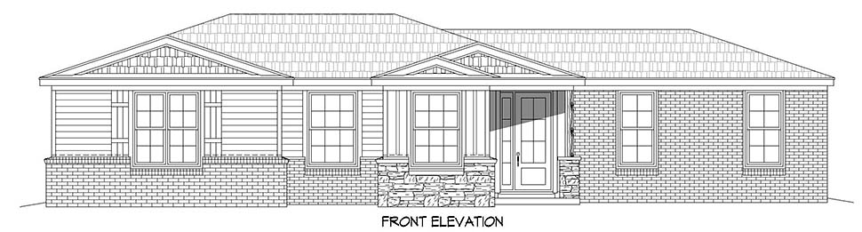 Country, Ranch, Traditional House Plan 40887 with 1 Beds, 2 Baths, 1 Car Garage Picture 3