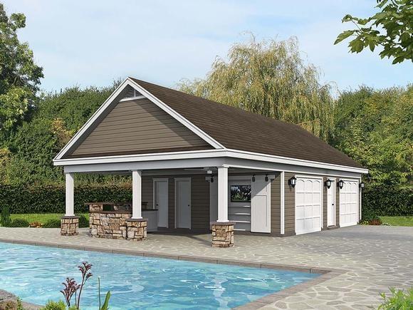 Bungalow, Country, Craftsman, Ranch, Traditional 0 Car Garage Plan 40890 Elevation