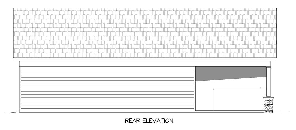 Bungalow, Country, Craftsman, Ranch, Traditional 0 Car Garage Plan 40890 Rear Elevation