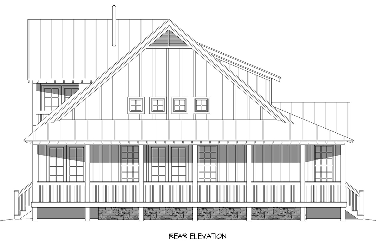 Cottage Country Farmhouse Rear Elevation of Plan 40893