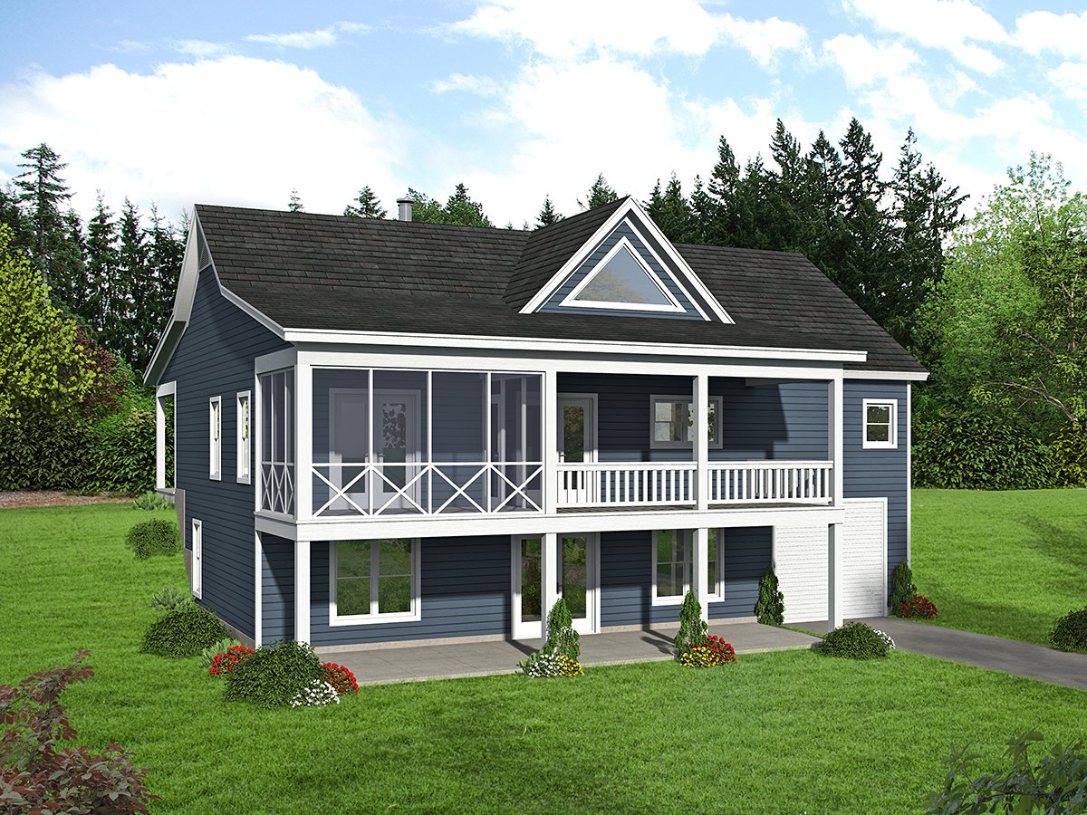 Country Farmhouse Ranch Traditional Rear Elevation of Plan 40894