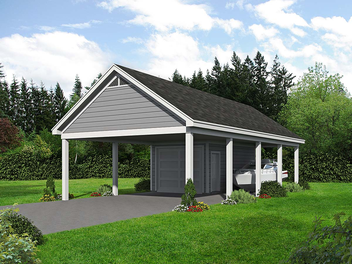 Country, Ranch, Traditional 3 Car Garage Plan 40895 Elevation