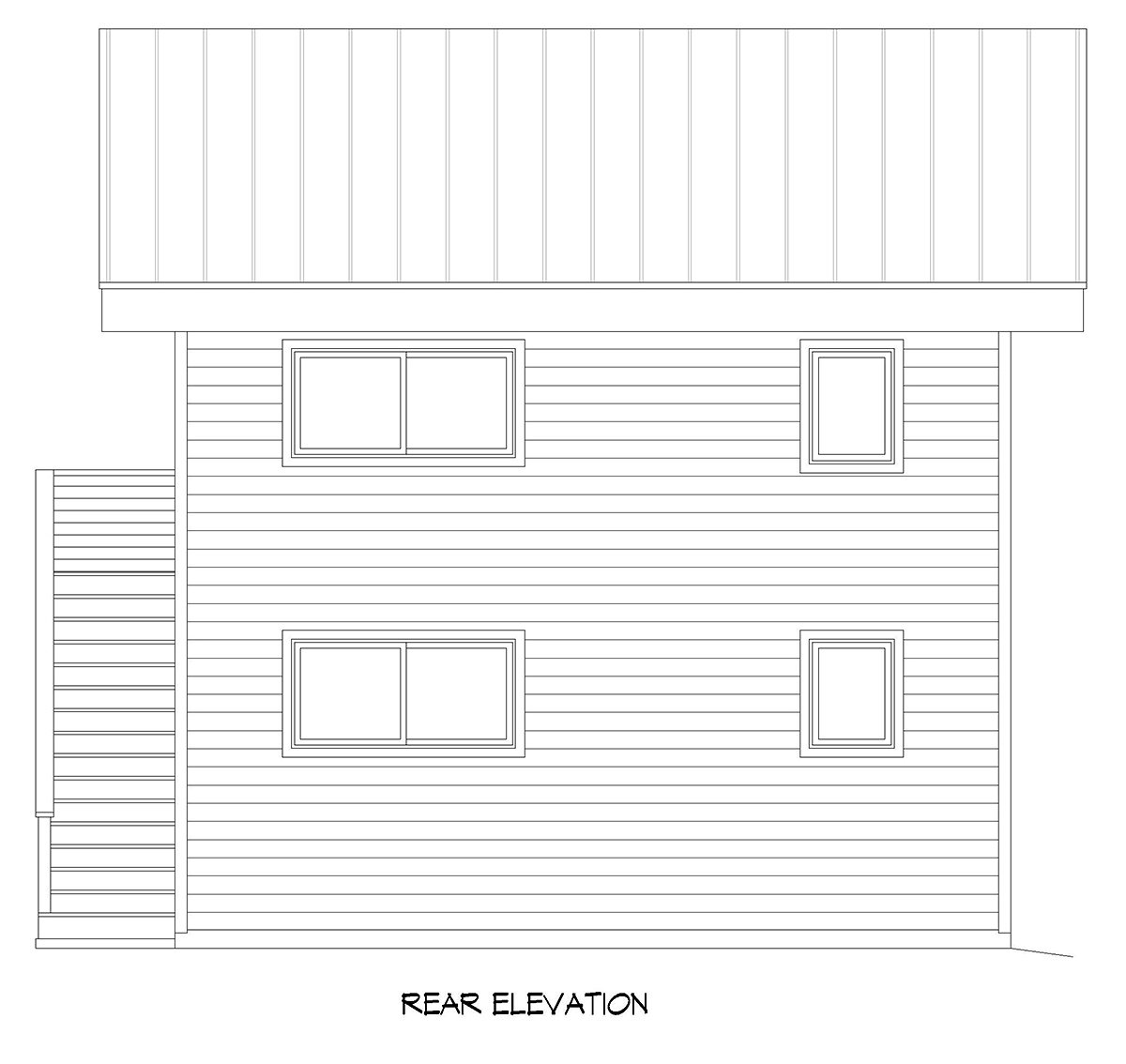 Coastal Contemporary Modern Rear Elevation of Plan 40896