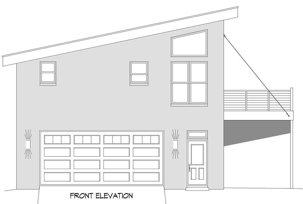 Contemporary, Modern Garage-Living Plan 40897 with 1 Beds, 1 Baths, 2 Car Garage Picture 3