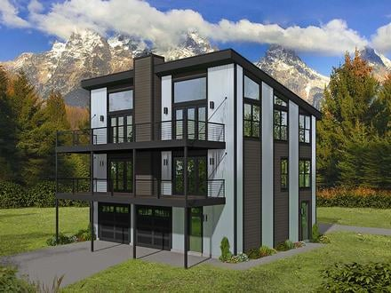 Contemporary Modern Elevation of Plan 40898