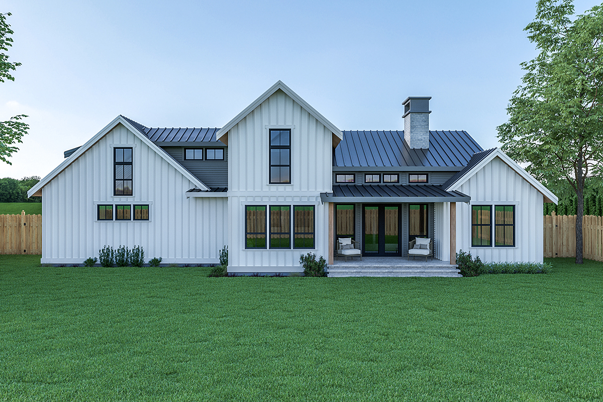 Contemporary Country Farmhouse Rear Elevation of Plan 40908