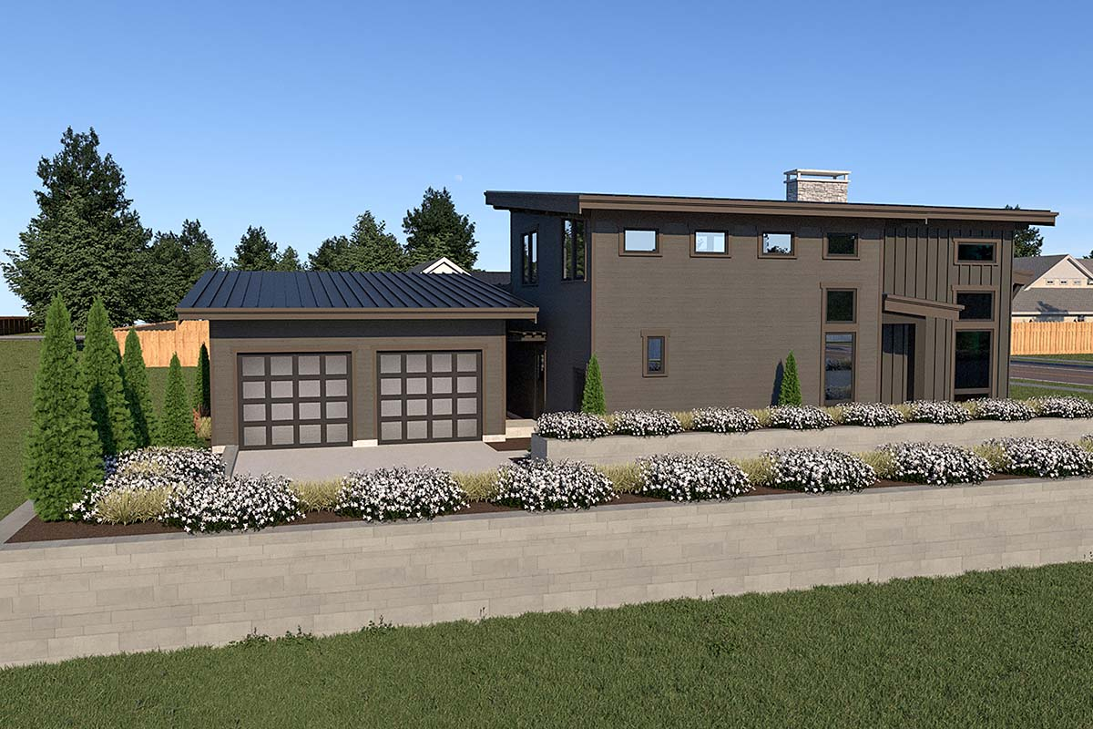 Contemporary House Plan 40910 with 3 Beds, 3 Baths, 2 Car Garage Picture 2