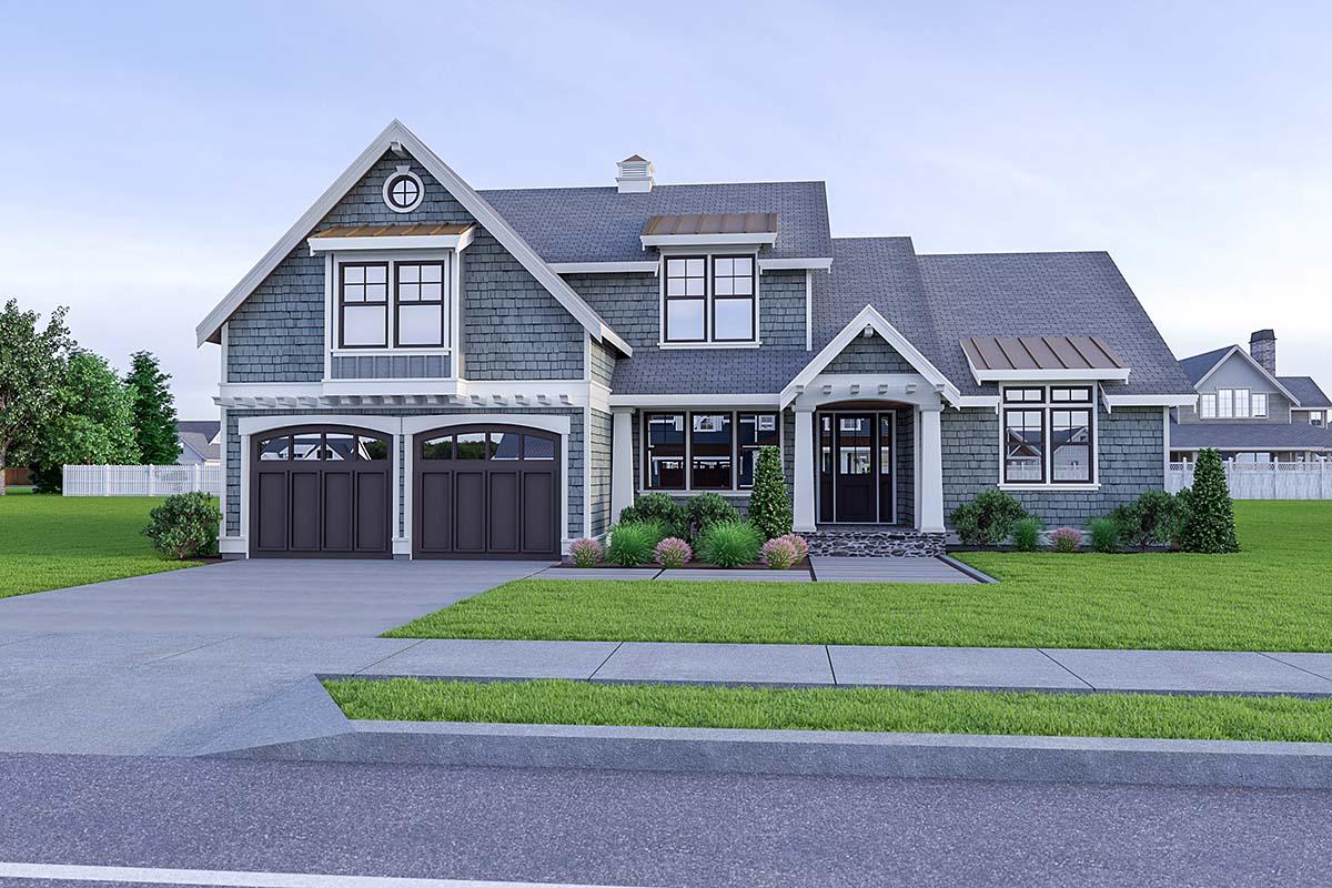 Coastal, Cottage, Craftsman House Plan 40912 with 3 Beds, 3 Baths, 2 Car Garage Elevation