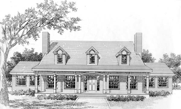 Cape Cod, Colonial, Country, Southern House Plan 41011 with 3 Beds, 3 Baths Elevation