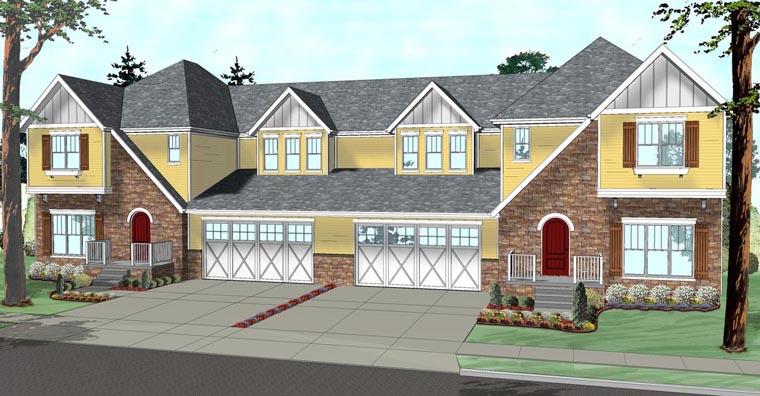 Tudor Multi-Family Plan 41118 with 8 Beds, 6 Baths, 4 Car Garage Elevation