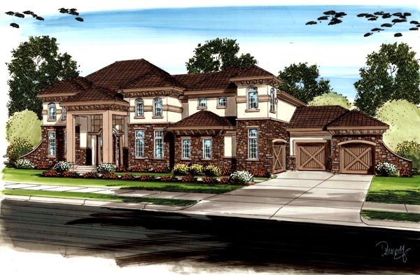 Country, Mediterranean, Traditional House Plan 41121 with 5 Beds, 5 Baths, 3 Car Garage Elevation