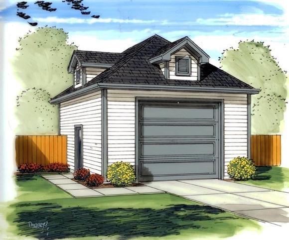 Traditional 1 Car Garage Plan 41135 Elevation