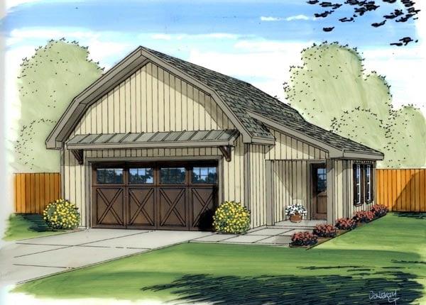 Country, Farmhouse 2 Car Garage Plan 41137 Elevation