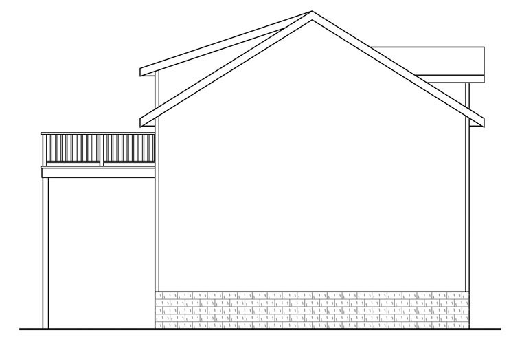 Traditional 2 Car Garage Apartment Plan 41149 with 1 Beds, 1 Baths Rear Elevation