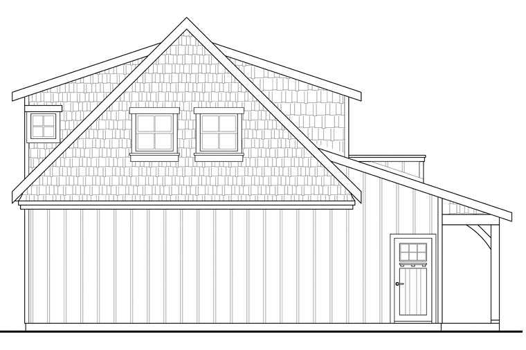 Craftsman, European 2 Car Garage Apartment Plan 41153 with 1 Beds, 1 Baths Rear Elevation