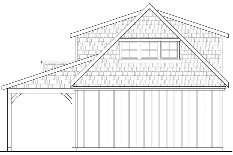 Craftsman 2 Car Garage Plan 41154 Rear Elevation