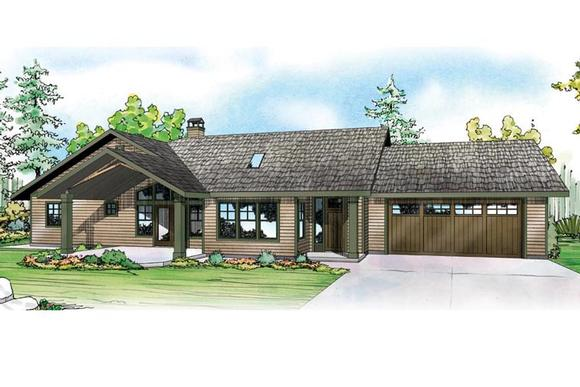 Contemporary, Country, Prairie, Ranch, Traditional House Plan 41164 with 3 Beds, 3 Baths, 4 Car Garage Elevation