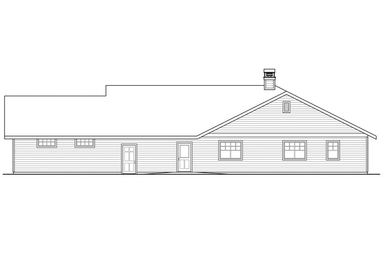 Contemporary, Country, Prairie, Ranch, Traditional House Plan 41164 with 3 Beds, 3 Baths, 4 Car Garage Rear Elevation