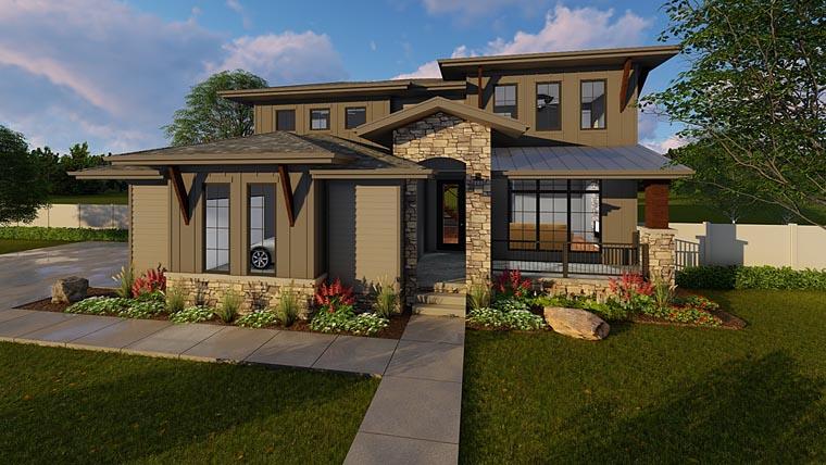 Contemporary Prairie Style Southwest House Plan 41183 Elevation