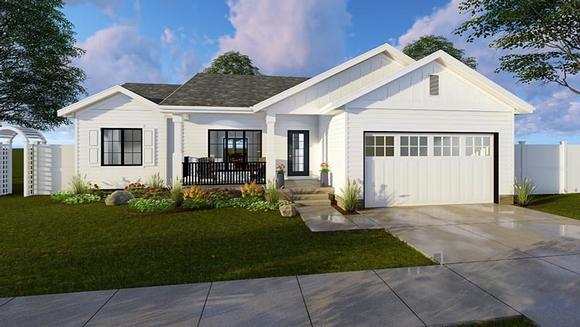 Ranch, Traditional House Plan 41184 with 3 Beds, 2 Baths, 2 Car Garage Elevation
