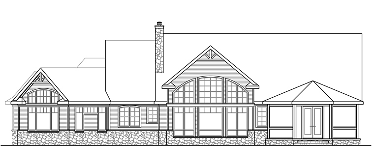 Country Craftsman Ranch House Plan 41206 Rear Elevation