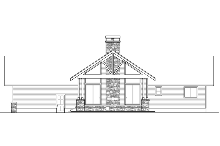 Country Ranch House Plan 41216 Rear Elevation