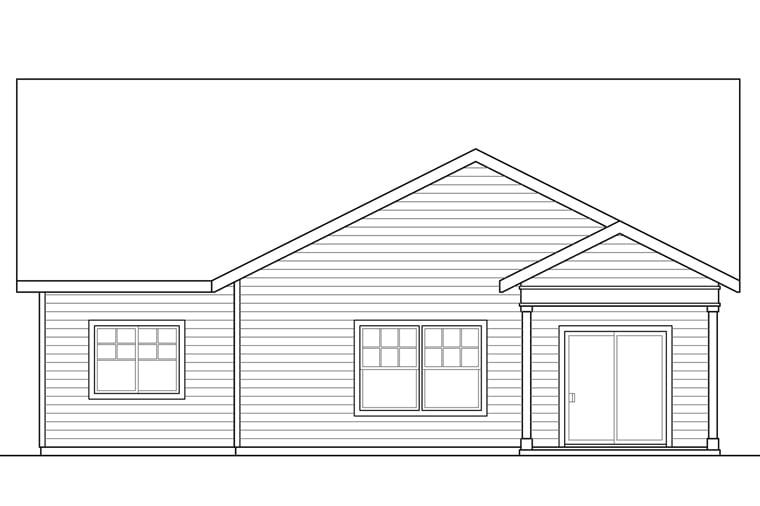 Bungalow Cottage Craftsman House Plan 41221 Rear Elevation