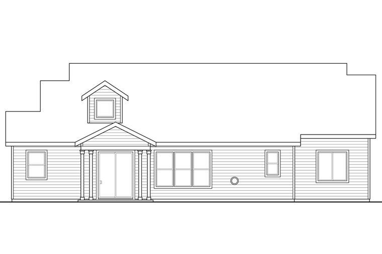 Country Craftsman Traditional House Plan 41227 Rear Elevation