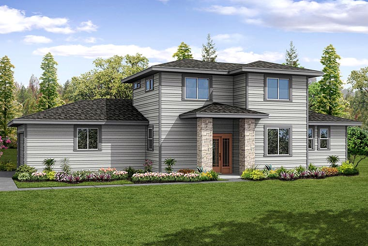 Contemporary, Modern, Prairie, Southwest House Plan 41236 with 3 Beds, 3 Baths, 2 Car Garage Elevation