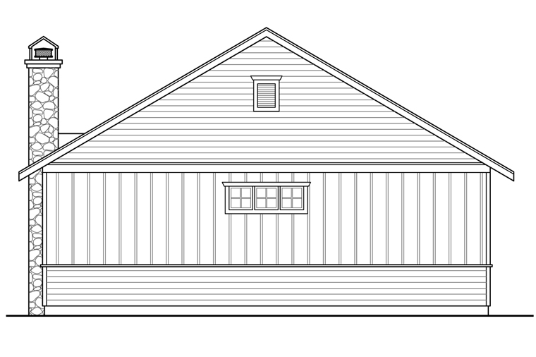Craftsman 4 Car Garage Apartment Plan 41243 with 1 Beds, 1 Baths Rear Elevation
