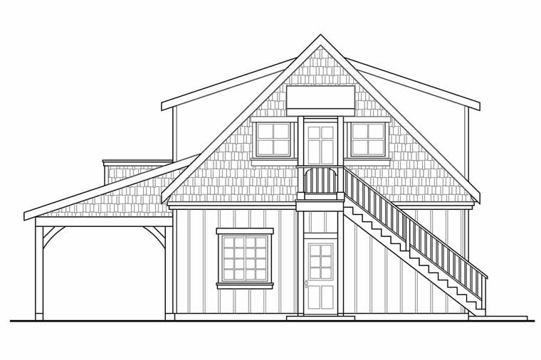 Craftsman Traditional Garage Plan 41246 Rear Elevation