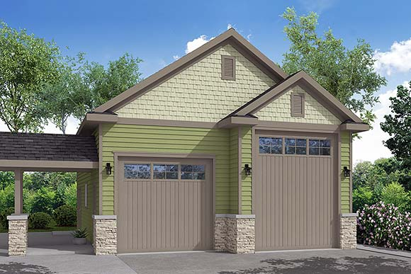 Traditional 2 Car Garage Plan 41248, RV Storage Elevation
