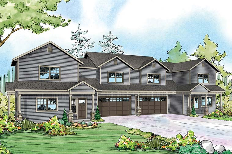 Contemporary Cottage Country Multi-Family Plan 41260 Elevation