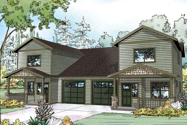 Contemporary Country Craftsman Traditional Multi-Family Plan 41261 Elevation