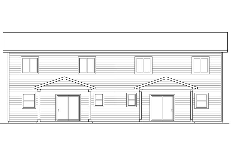 Contemporary Country Craftsman Traditional Multi-Family Plan 41261 Rear Elevation