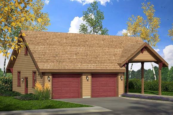 Craftsman, Ranch, Traditional 3 Car Garage Plan 41273 Elevation