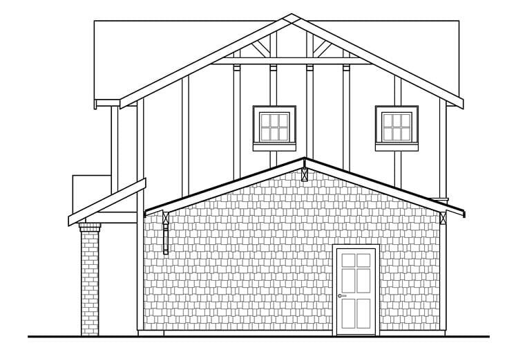 Traditional Tudor Rear Elevation of Plan 41280