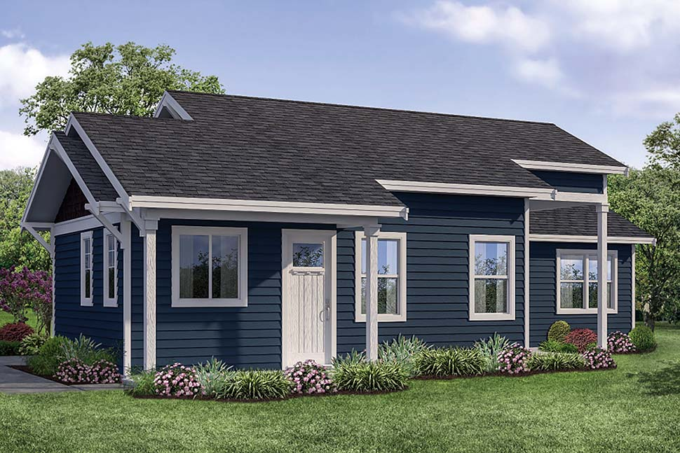 Cabin, Country, Traditional House Plan 41317 with 2 Beds, 1 Baths Elevation