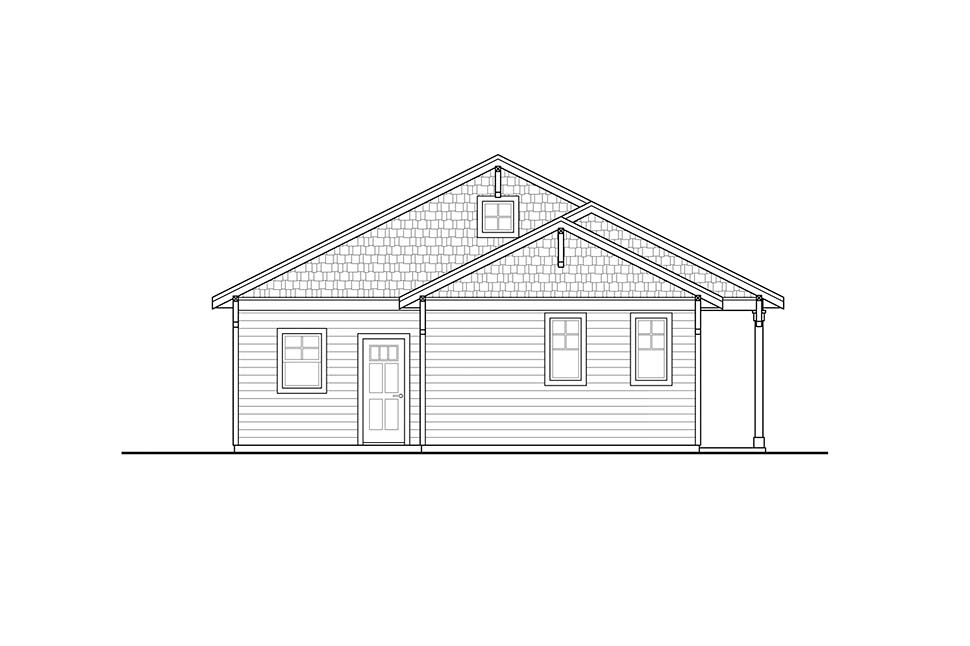 Cabin, Country, Traditional House Plan 41317 with 2 Beds, 1 Baths Picture 1