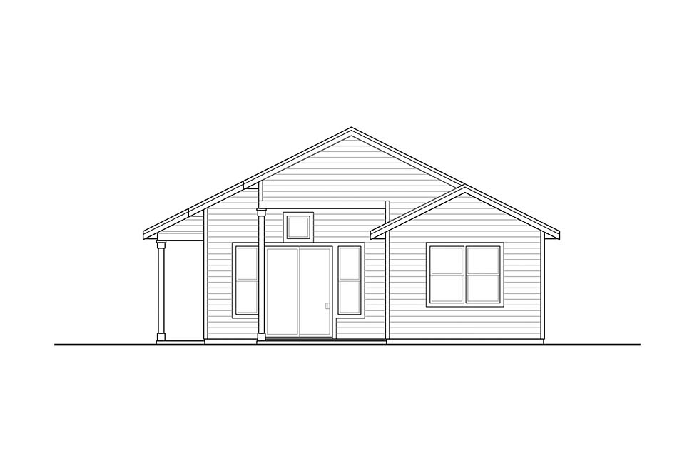 Cabin, Country, Traditional House Plan 41317 with 2 Beds, 1 Baths Rear Elevation
