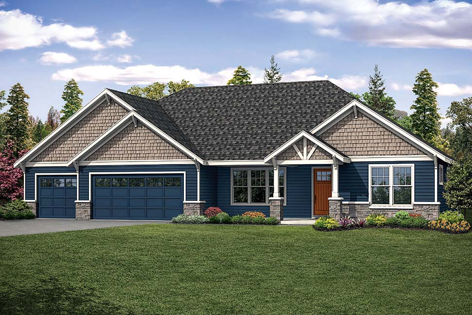 Ranch Style House Plan 41318 with 4 Bed, 3 Bath, 3 Car Garage on