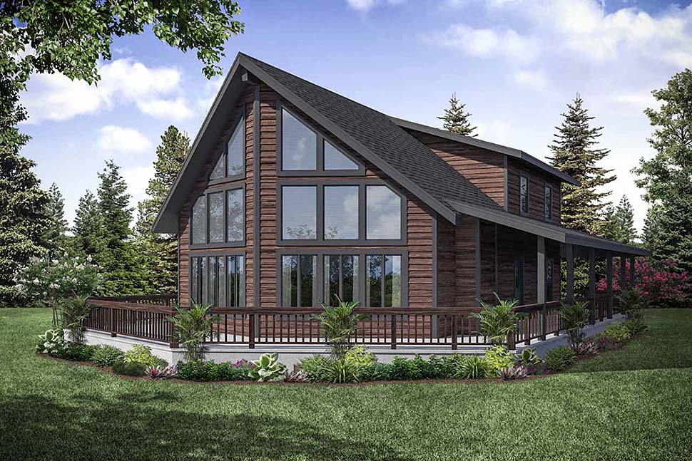 Cabin, Contemporary, Narrow Lot House Plan 41319 with 3 Beds, 2 Baths Elevation