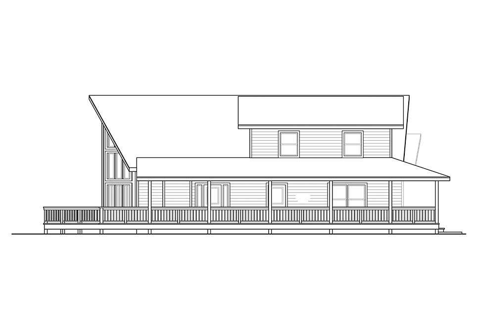 Cabin, Contemporary, Narrow Lot House Plan 41319 with 3 Beds, 2 Baths Picture 2
