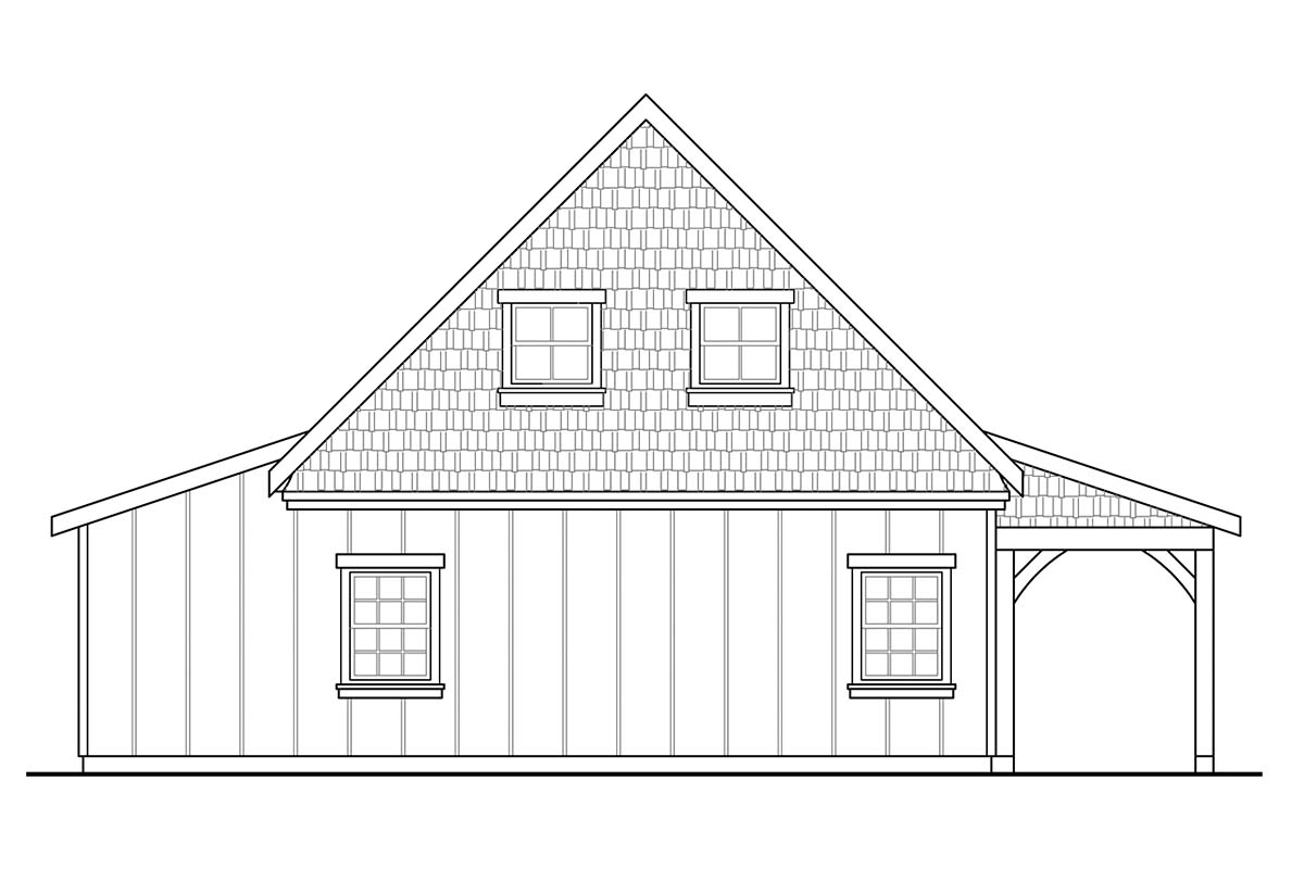 Country Craftsman Farmhouse Rear Elevation of Plan 41349