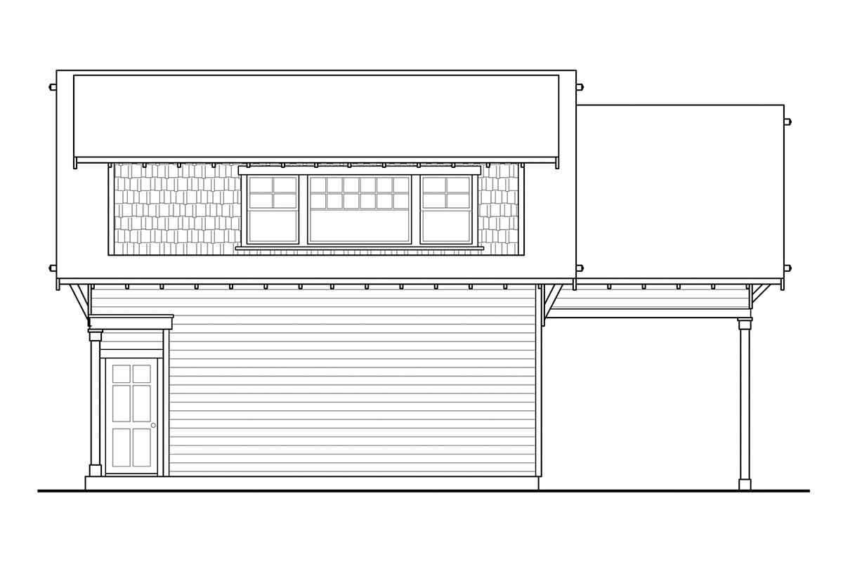 Cottage, Craftsman 2 Car Garage Apartment Plan 41350 Rear Elevation