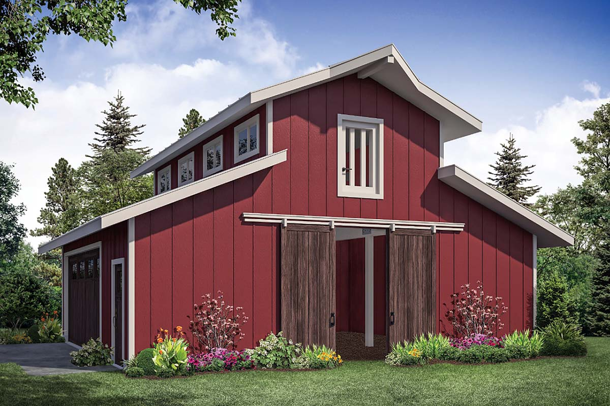 Country, Farmhouse, Traditional 2 Car Garage Plan 41364 Elevation