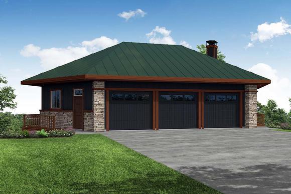 Contemporary, Craftsman 6 Car Garage Plan 41372 Elevation