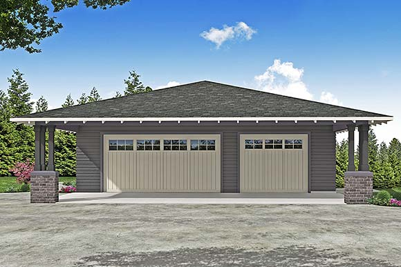 Craftsman, Prairie, Traditional 2 Car Garage Plan 41374 Elevation