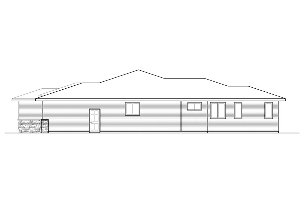 Modern, Prairie, Ranch House Plan 41389 with 3 Beds, 2 Baths, 2 Car Garage Picture 1