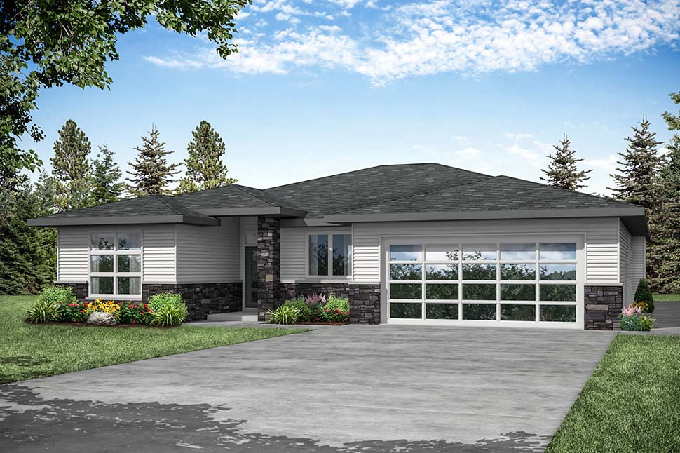 Modern, Prairie, Ranch House Plan 41389 with 3 Beds, 2 Baths, 2 Car Garage Picture 3